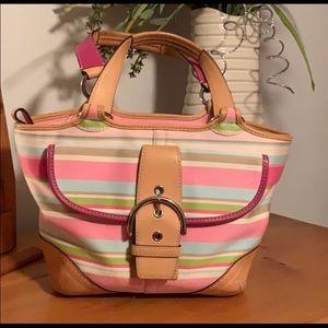 Vintage Coach Pastel Canvas Handbag